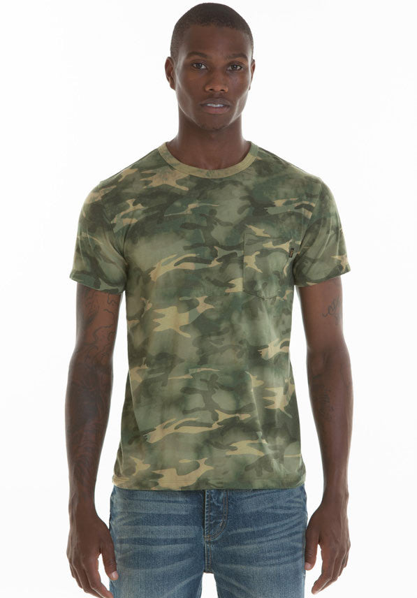 OBEY - Thrashed Slim Fit Pocket Men's Tee, Bleached Camo - The Giant Peach