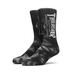 HUF x Thrasher TDS Crystal Wash Crew Socks, Black - The Giant Peach