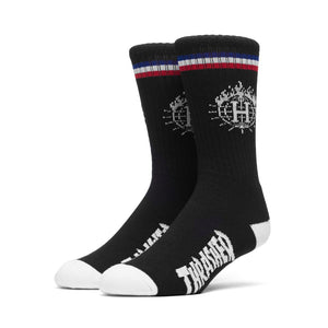 HUF x Thrasher TDS Crew Sock & Can, Black - The Giant Peach