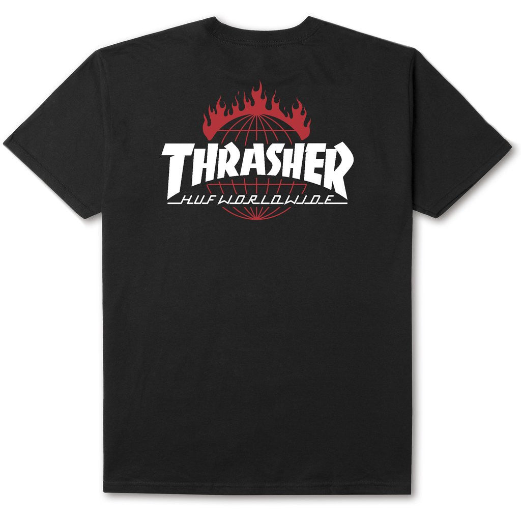 HUF x Thrasher TDS Men's Tee, Black - The Giant Peach