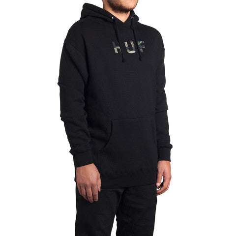 HUF - Original Logo Tiger Camo Pullover Hoodie, Black - The Giant Peach