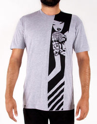 tokidoki TKDK - Tatted Lady Men's Shirt, Light Heather Grey - The Giant Peach