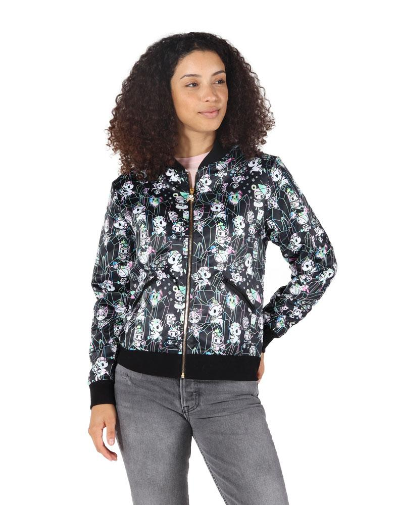 tokidoki - Crystal Palace Women's Satin Bomber Jacket, Black
