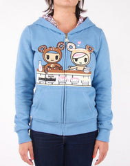 tokidoki - Sushi Donuts Women's Hoodie, Blue Heather Grey - The Giant Peach - 1