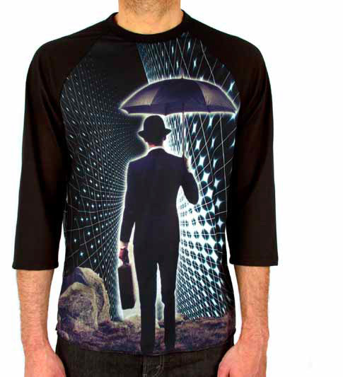 Imaginary Foundation - The Trip Men's Baseball Shirt, Black - The Giant Peach