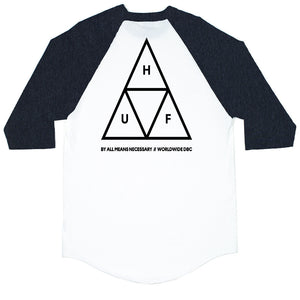 HUF - Triple Triangle Men's Raglan Tee, Charcoal Heather - The Giant Peach