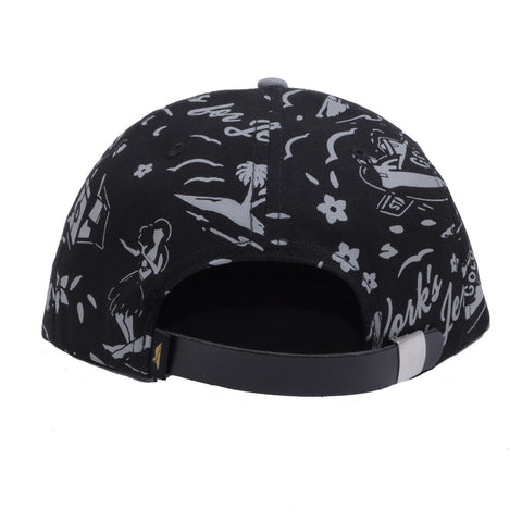 Benny Gold - Tropics Pattern Polo 6-Panel Hat, Black