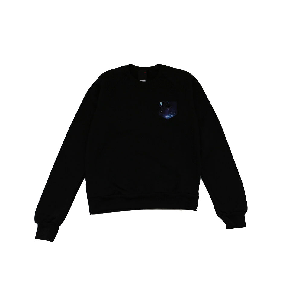 TRUE - Men's True Galaxy Pocket Crewneck Sweatshirt, Black