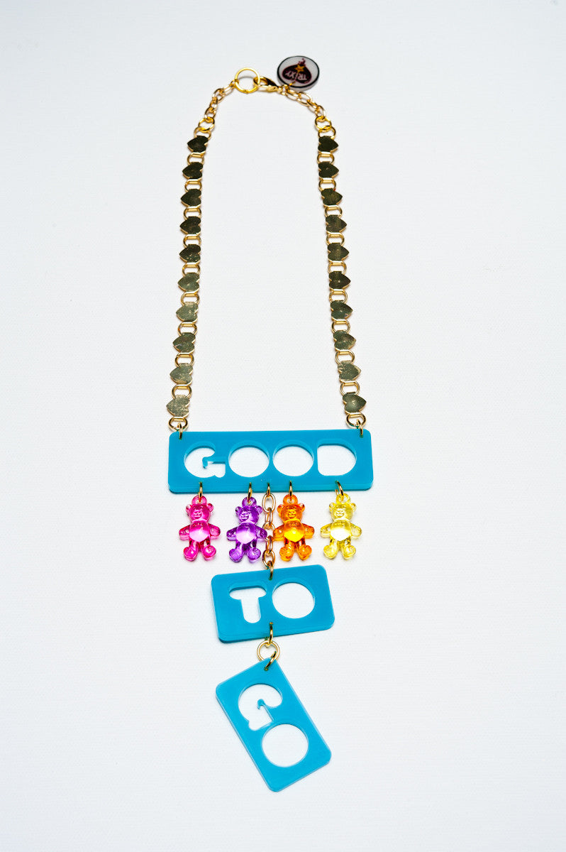 TRiXY STARR - Good to Go Necklace, Gold/Teal/rainbow - The Giant Peach - 2