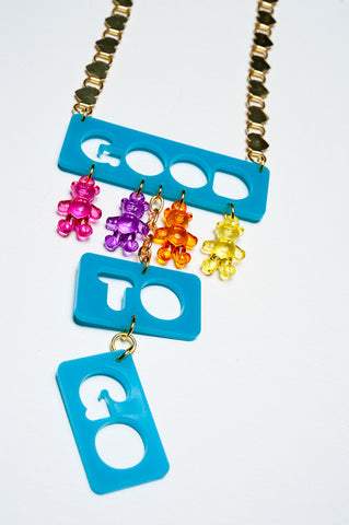 TRiXY STARR - Good to Go Necklace, Gold/Teal/rainbow