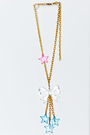 TRiXY STARR - Kylie Necklace, Gold/Blue/Clear/Pink - The Giant Peach