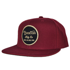 Brixton - Wheeler Men's Snapback Hat, Burgundy - The Giant Peach