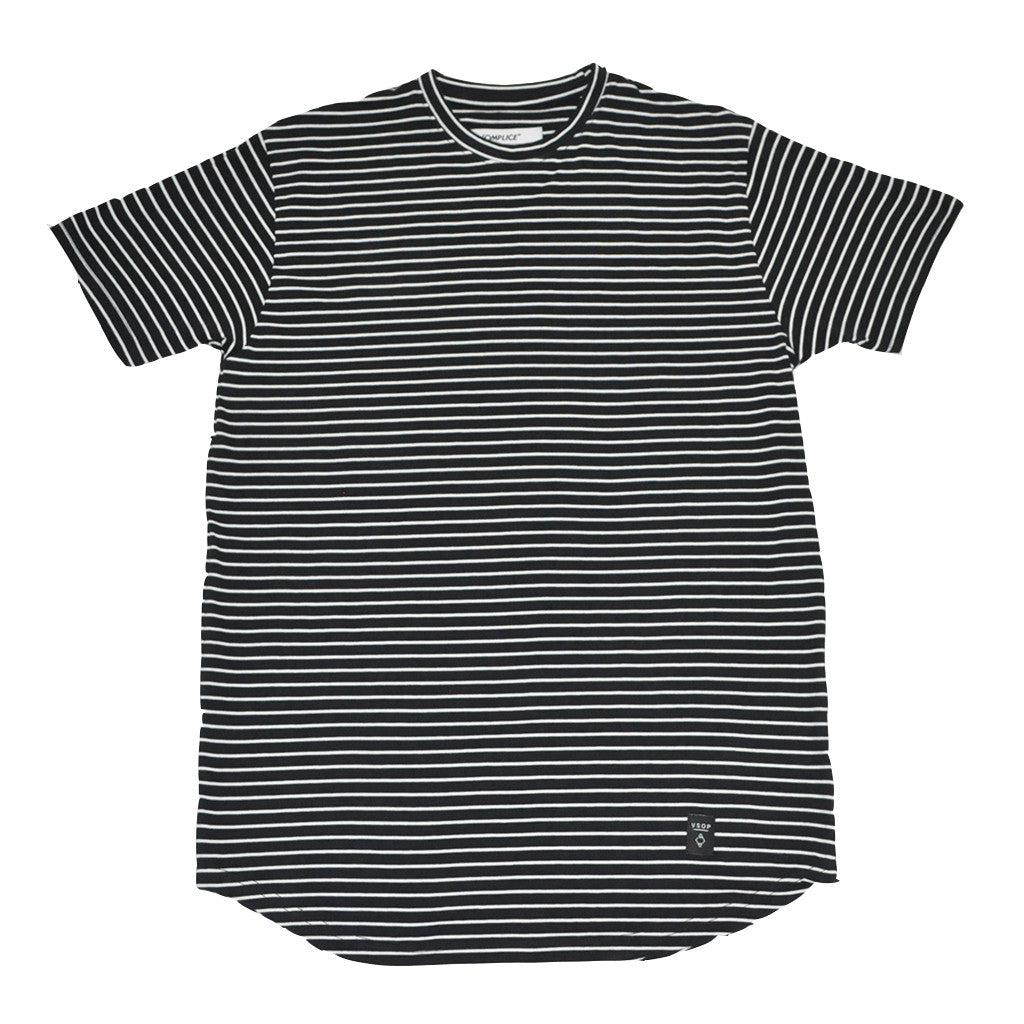 Akomplice - White Striped Moan SC Men's Tee, Black - The Giant Peach