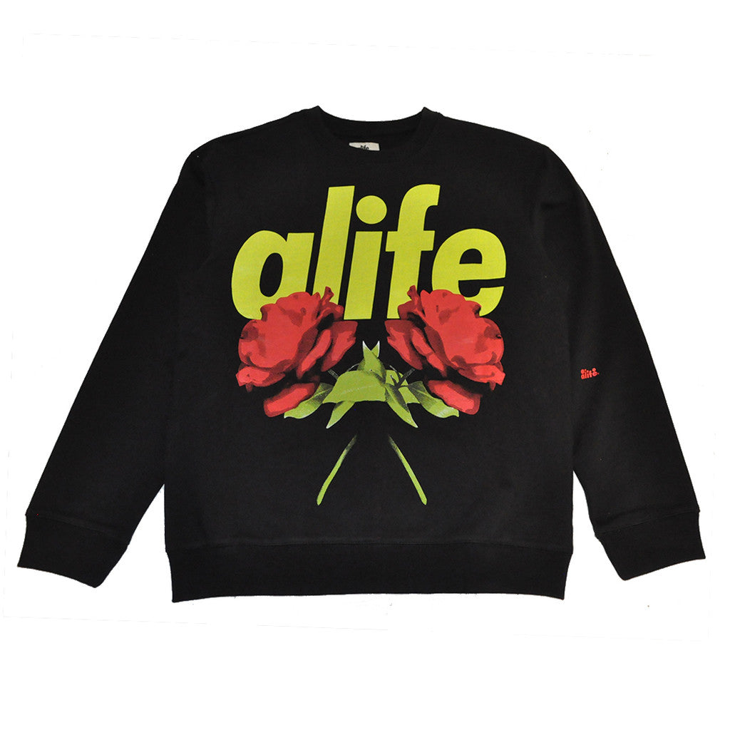 Alife - Wild Thorns Men's Crewneck Sweatshirt, Black - The Giant Peach