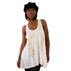 2K Milton Glaser - Nina Racer Back Women's Tank Top, Off White - The Giant Peach
