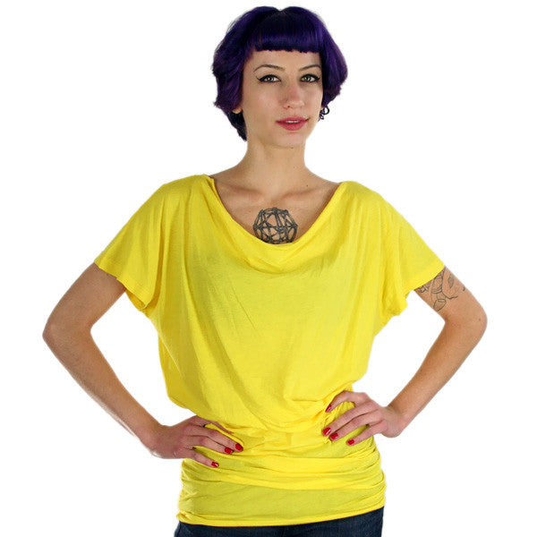 Harajuku Lovers - Pin Tuck Junior's Top, Psychedelic Yellow - The Giant Peach