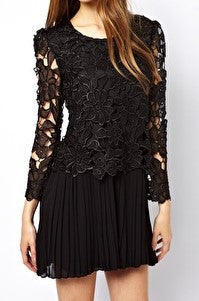 Black Lace Dress with Pleats - Midnight