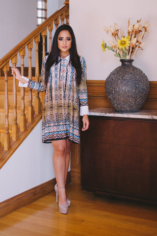 M I D N I G H T Africa Dress with white collar - Midnight