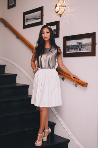 M I D N I G H T White Gold Skirt & Top - Midnight
