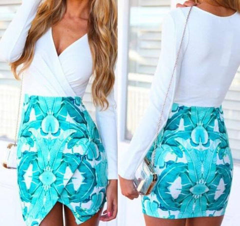 White Top and V Shaped Blue Skirt Dress - Midnight