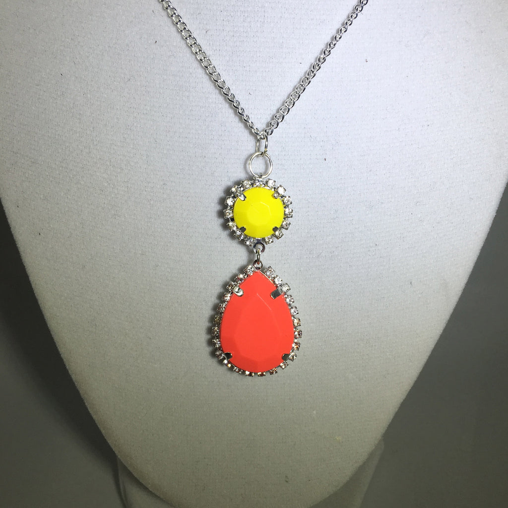 Peach Sun Drop Necklace