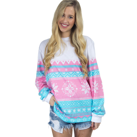Lauren James Christmas Sweater Tee- Pink Snowflake