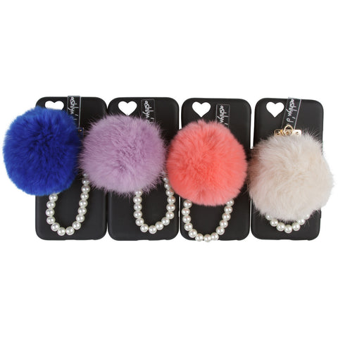 iPhone Case with Fur Ball and Pearl Strap