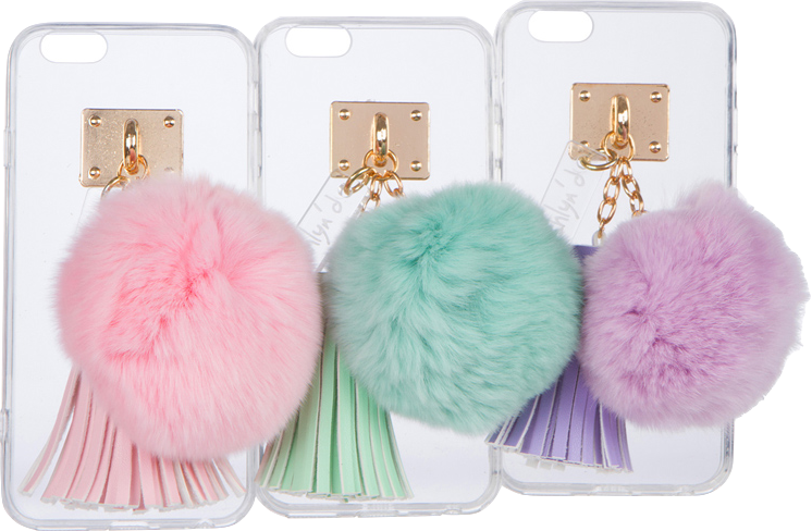 iPhone Case with Fur Ball and Tassel - ashlyn