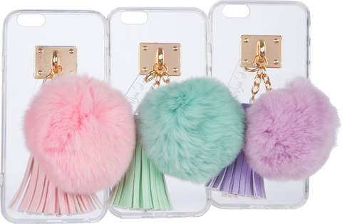 iPhone Case with Fur Ball and Tassel