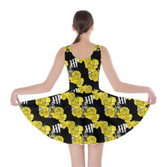 HP Black and Yellow Inspired Floral Skater Dress