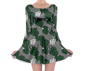 HP Silver and Green Inspired Floral - Long Sleeved Skater Dress