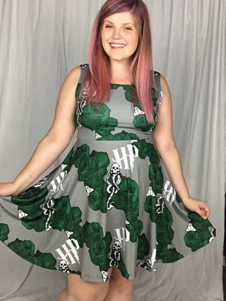 HP Silver and Green Inspired Floral Skater Dress
