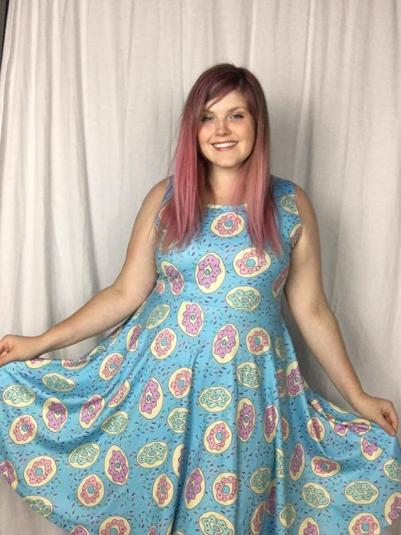 Donuts in Turquoise Skater Dress