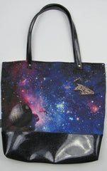 War Amound the Stars Canvas Tote Bag With Vinyl Accent