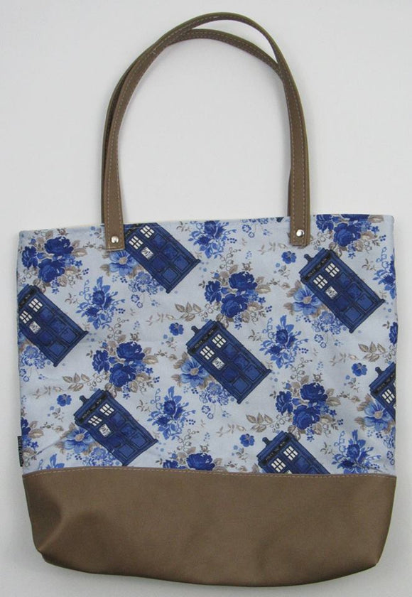 Vintage Floral Police Box | Canvas Tote Bag With Vinyl Accent