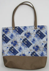 Vintage Floral Police Box Custom Printed Canvas Tote Bag With Vinyl Accent