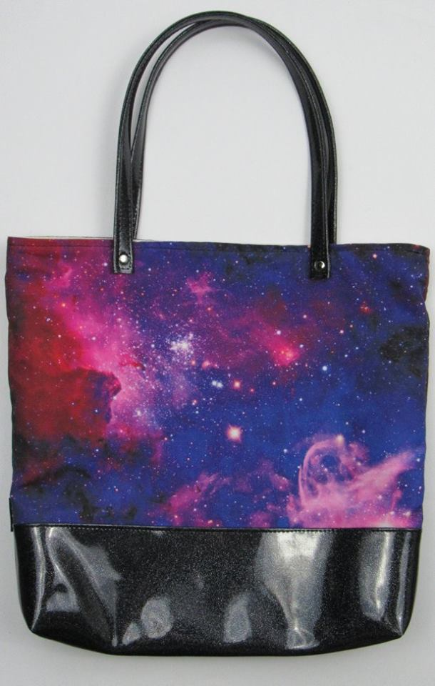 Girly Galaxy Canvas Tote Bag With Vinyl Accent More Me