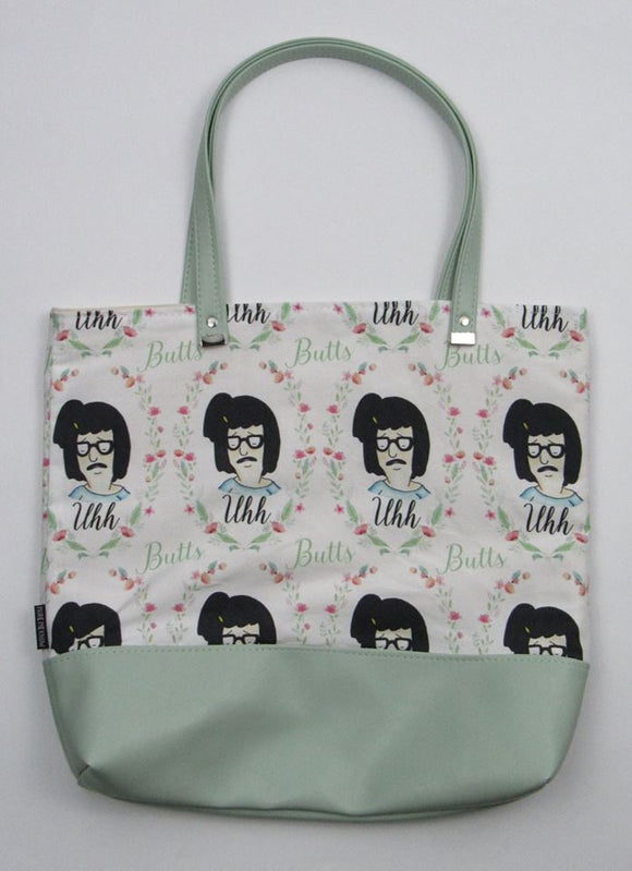 Uhh Floral Frame | Canvas Tote Bag With Vinyl Accent