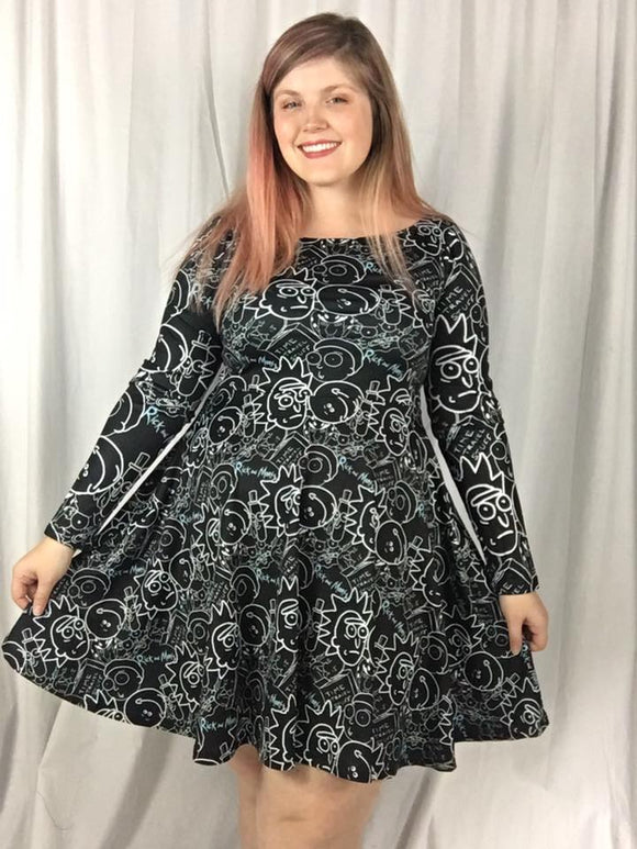 R&M in Black Long Sleeved Skater Dress