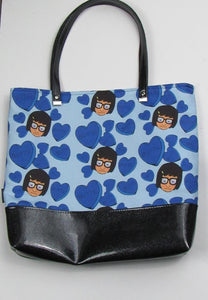 Blue Candy Hearts | Canvas Tote Bag With Vinyl Accent