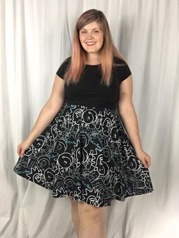 R&M in Black - A line Skater Skirt