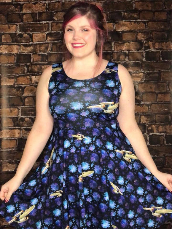 Floral Star Trek Skater Dress
