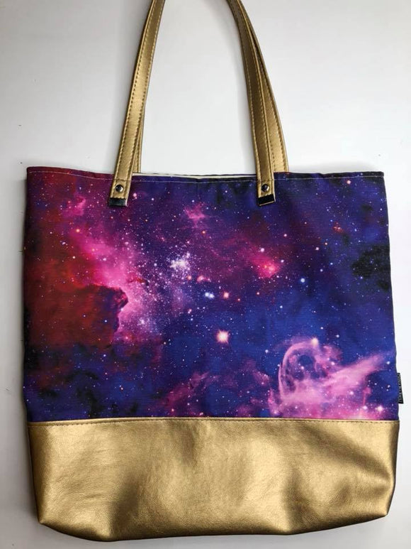 Girly Galaxy Canvas Tote Bag With Vinyl Accent