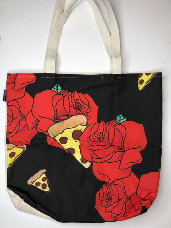 Floral Pizza | Canvas Tote Bag