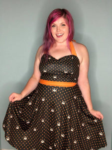 Polka Dotted Rebel in Orange | Pin-Up Style Dress