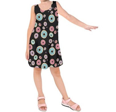 Black Donuts - Kids Sleeveless Dress