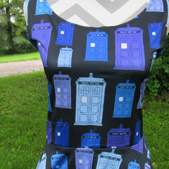 Hand Drawn TARDIS in Blue Skater Dress