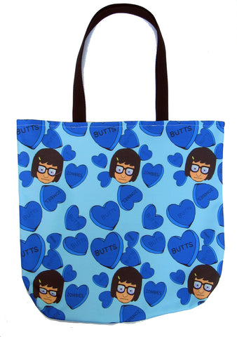 Candy Hearts in Blue Custom Printed Canvas Tote Bag