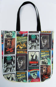 Monster Movie Inspired Custom Printed Canvas Tote Bag