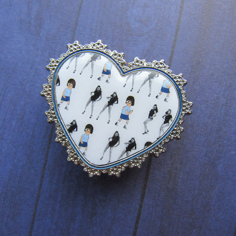 Single Ladies Lace Heart Enamel Pin